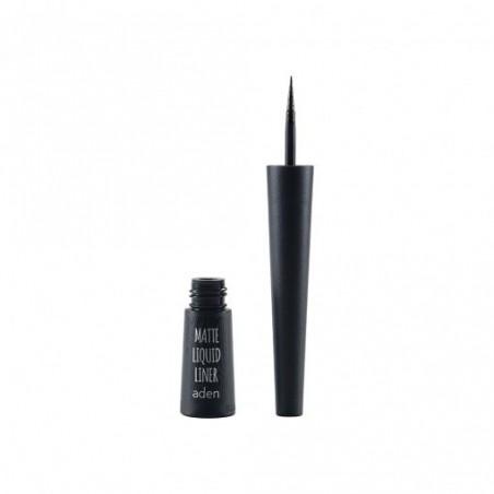 Tuș mat cu pensulă - negru - matte liquid liner - aden cosmetics
