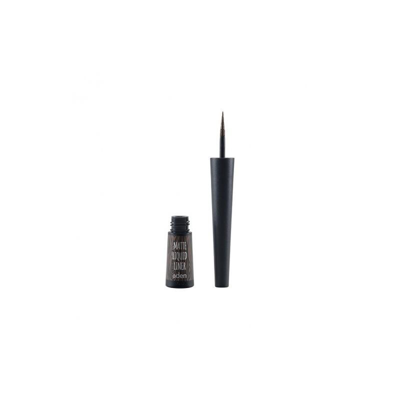Tuș mat cu pensulă - maro - matte liquid liner - aden cosmetics